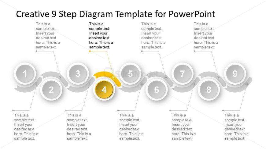 Slide of 9 Steps Chevron Timeline