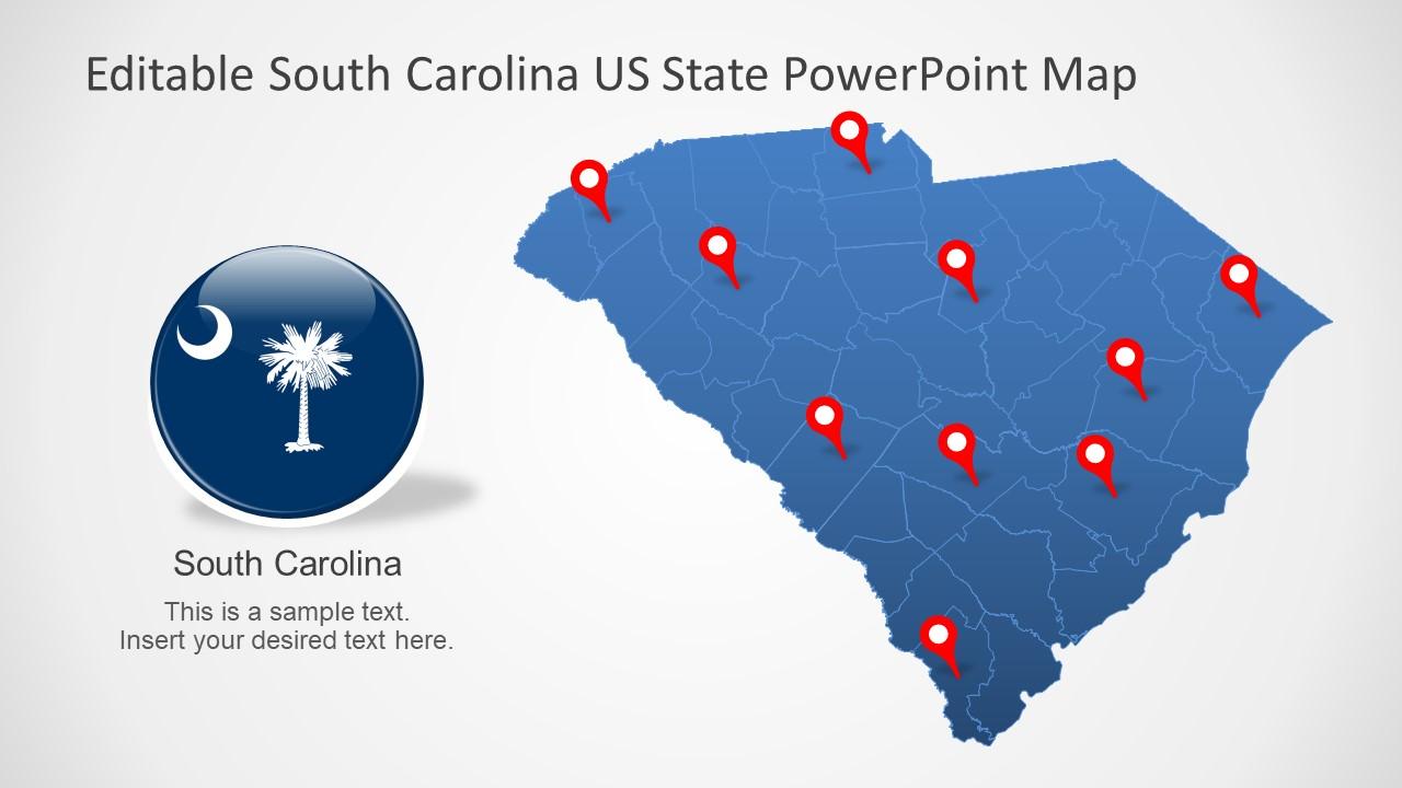 South Carolina Us State Powerpoint Map Slidemodel - Us-flat-map