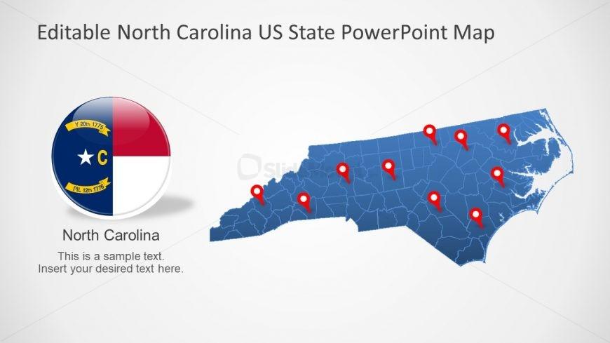US North Carolina Map Template - SlideModel