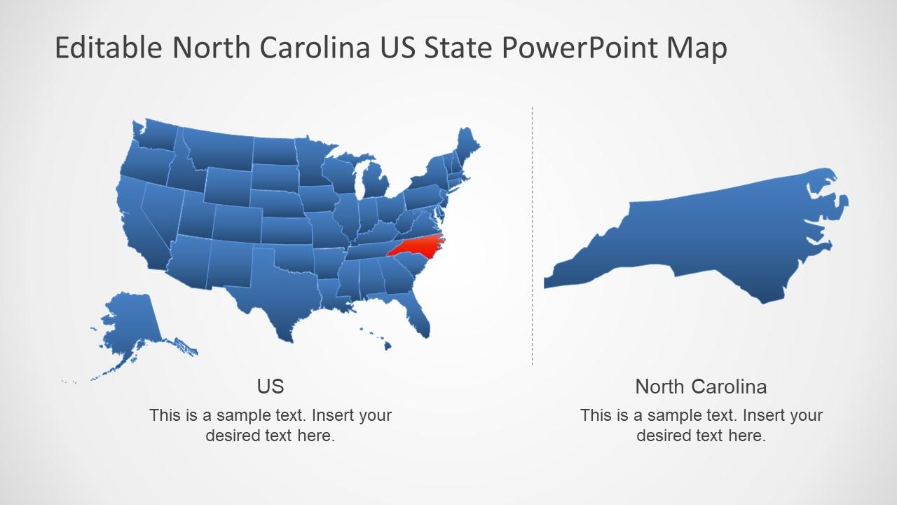 United States Map Ppt.North Carolina Us State Powerpoint Map Slidemodel