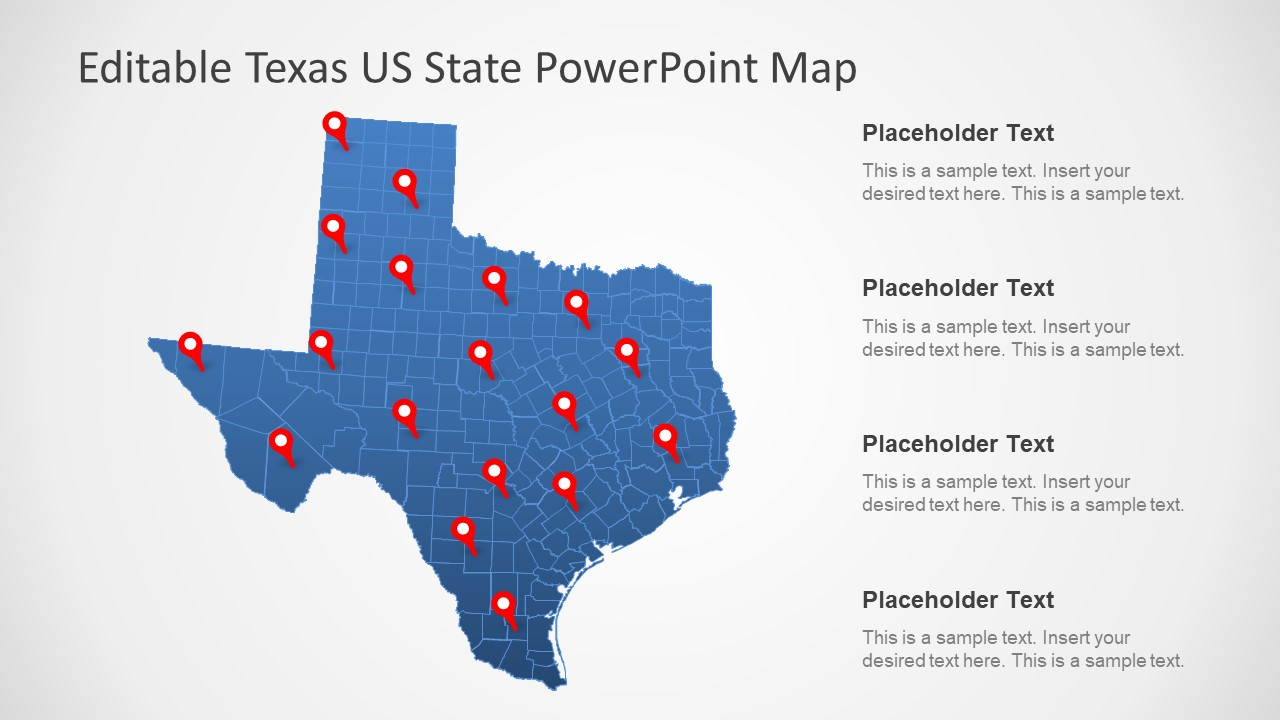 Texas US State PowerPoint Map