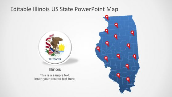 Flag and Map of Illinois Template