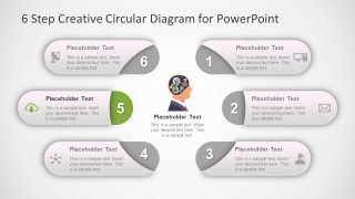 Circular PowerPoint Brain 6 Steps
