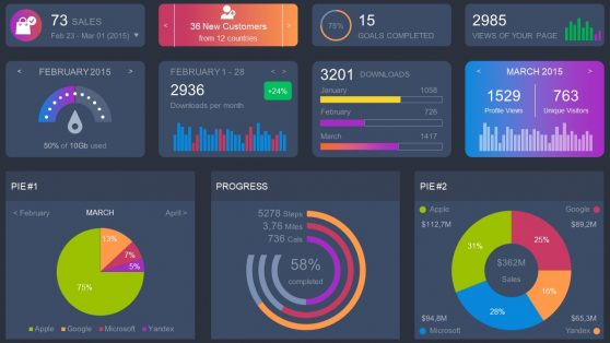Dashboard Charts Infographic PowerPoint