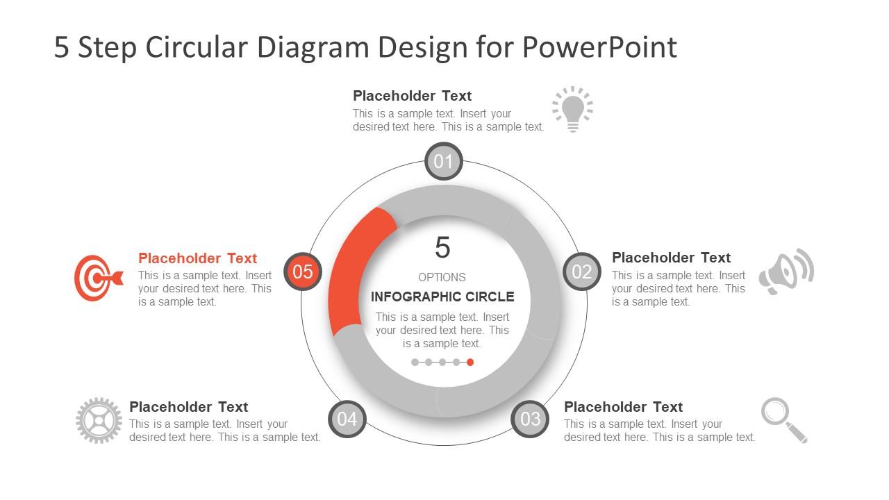 5 Step Circular Diagram Design For Powerpoint Slidemodel Shapes Process Flow Segments Of