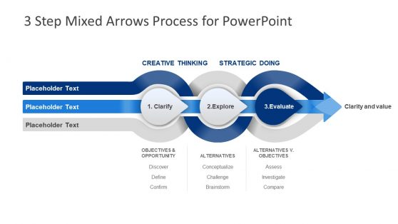 IDM PowerPoint Diagram 3 Arrow Steps