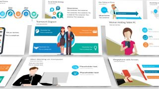Flat Business Office Scenes PowerPoint Templates