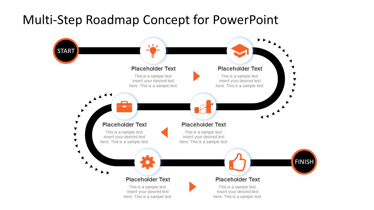 multi step powerpoint roadmap timeline