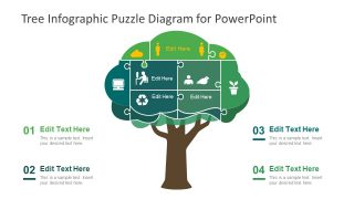 Tree Infographic Puzzle Diagram for PowerPoint
