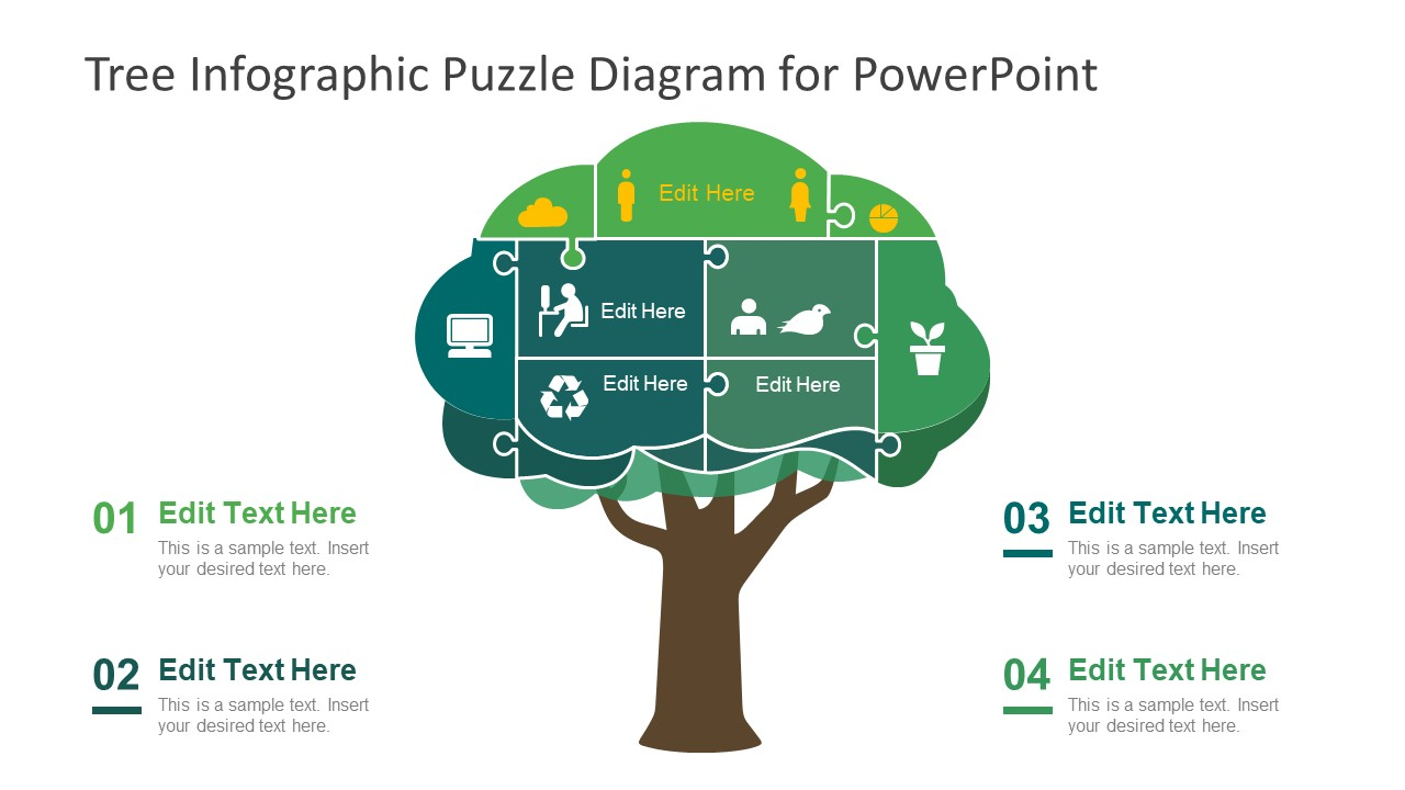 PowerPoint Puzzle Diagram of Tree