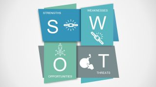 SWOT Analysis PowerPoint Template Interlaced Polygon Design