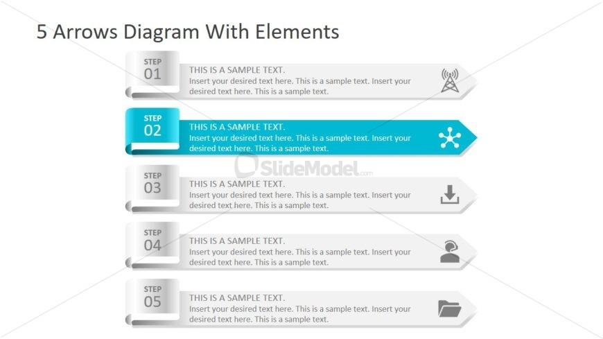 PowerPoint Diagram 5 Arrows