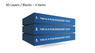 3D Block Layers 3 Steps PowerPoint Diagrams