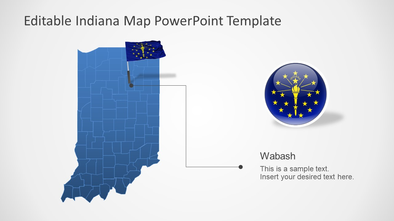 PowerPoint Map of Indiana With Counties