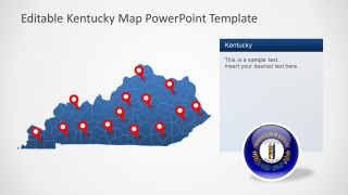 Location Markers on Map of Kentucky