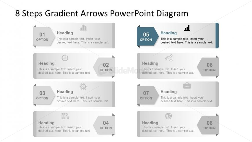 Template of 5 Arrow Highlight Diagram