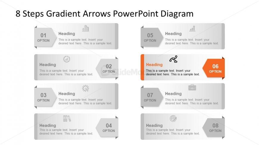 Template of 6 Arrow Highlight Diagram