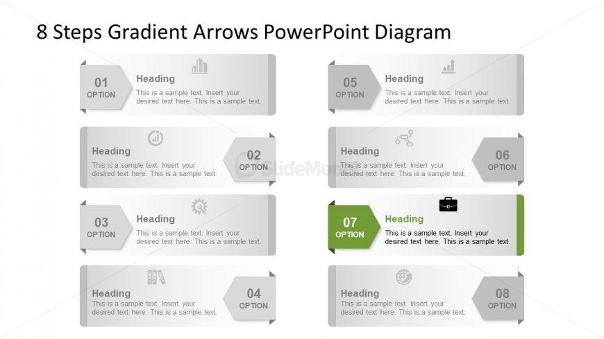Template of 7 Arrow Highlight Diagram