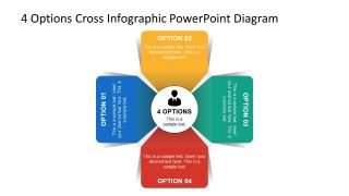 4 Options Cross Infographic PowerPoint Diagram