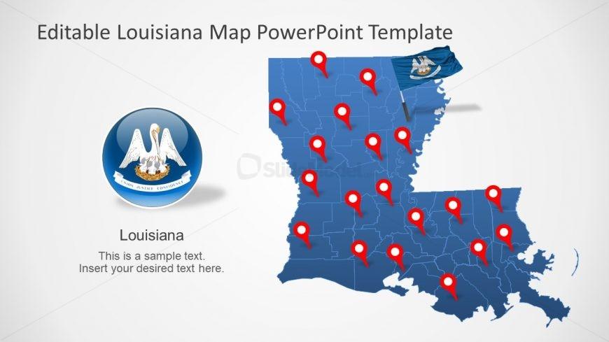 Editable Map of Louisiana