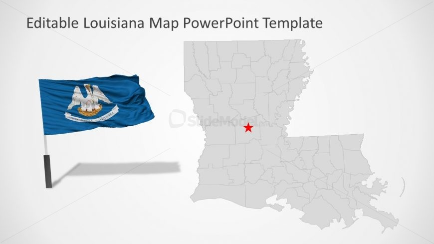 USA States Editable Map of Louisiana