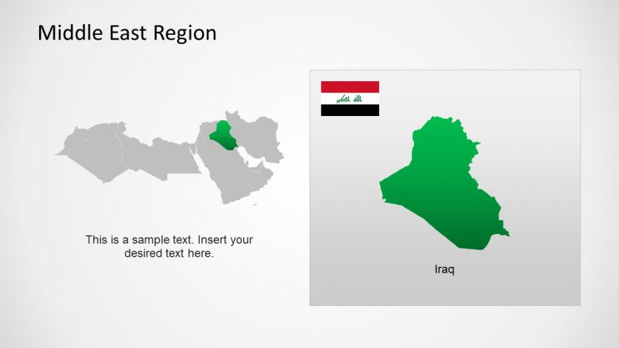 Silhouette Map of Iraq Middle East
