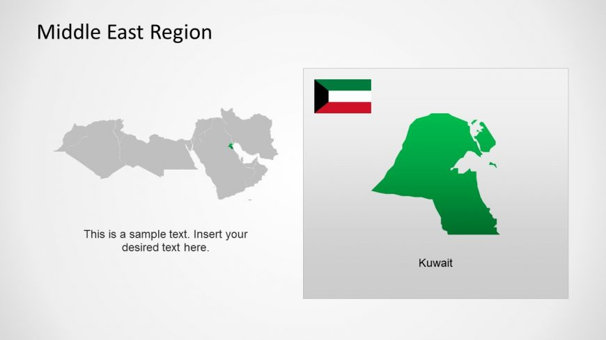 Silhouette Map of Kuwait Middle East