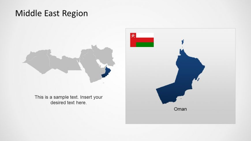 Silhouette Map of Oman Middle East