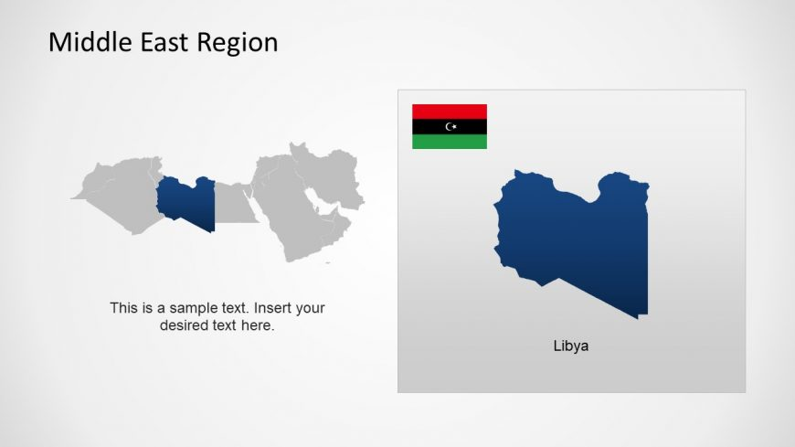 Silhouette Map of Libya Middle East