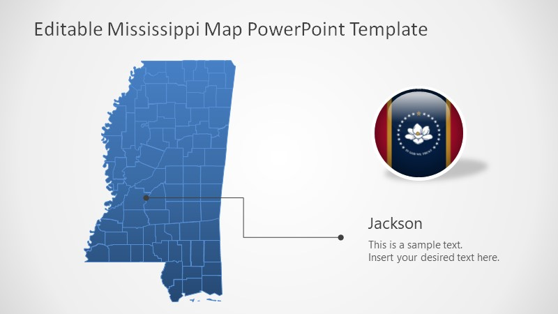 Templates of Mississippi Editable Map