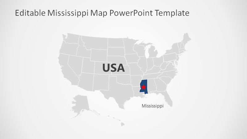 PowerPoint Mississippi Map with Flag
