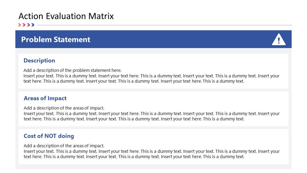 Problem Statement PowerPoint Action Evaluation