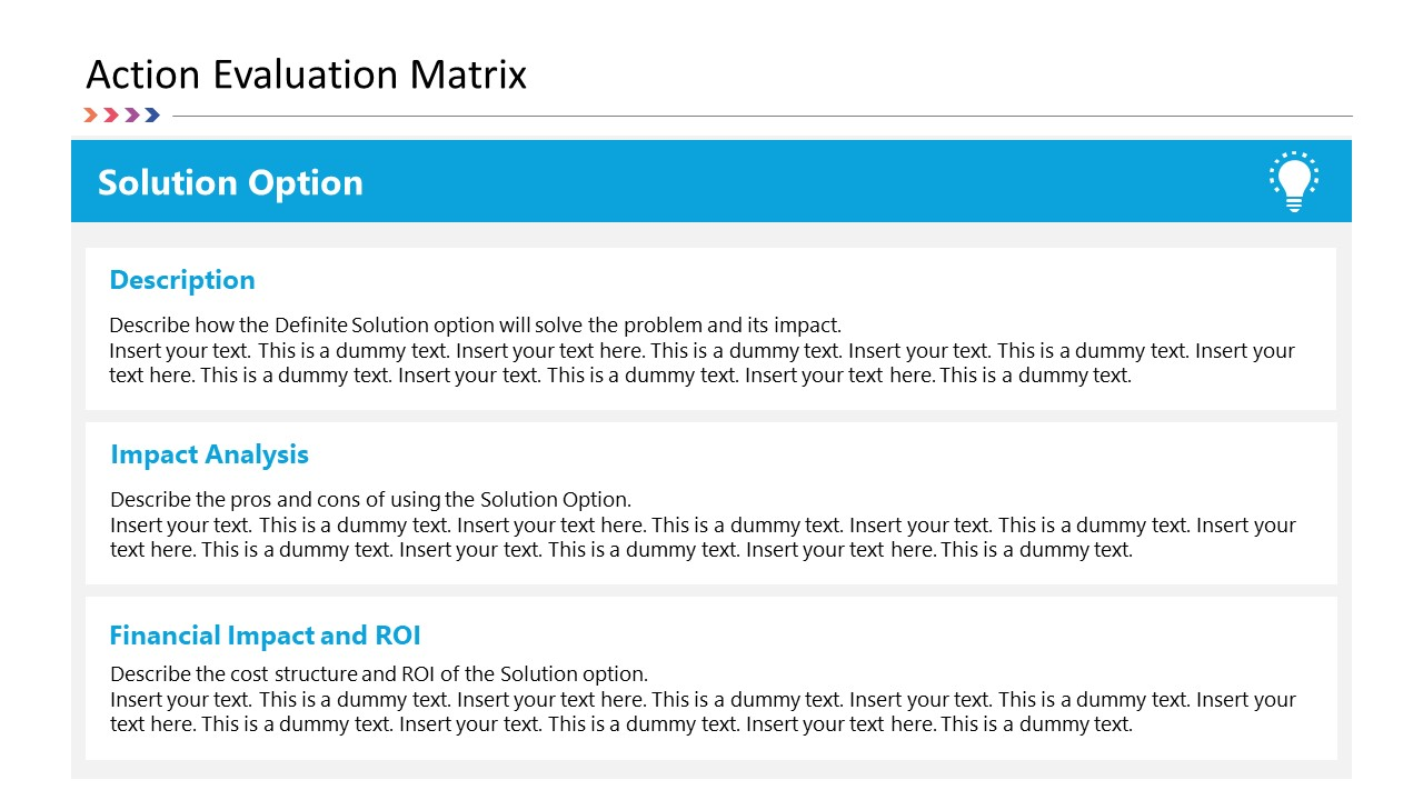 Solution Option PowerPoint Action Evaluation