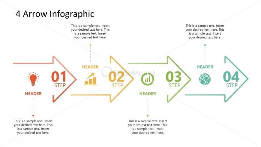 4 Arrows Milestone PowerPoint Timeline