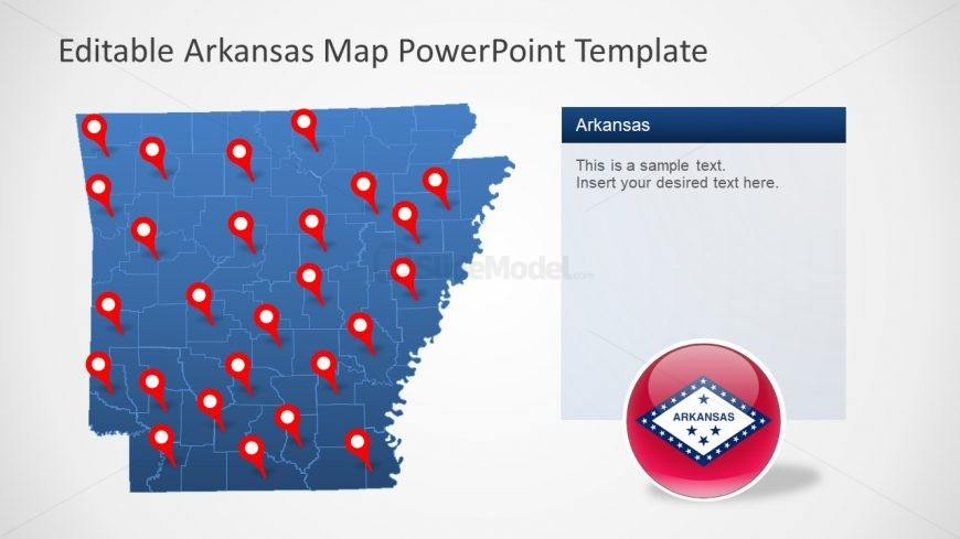 PowerPoint Map of Arkansas Slide