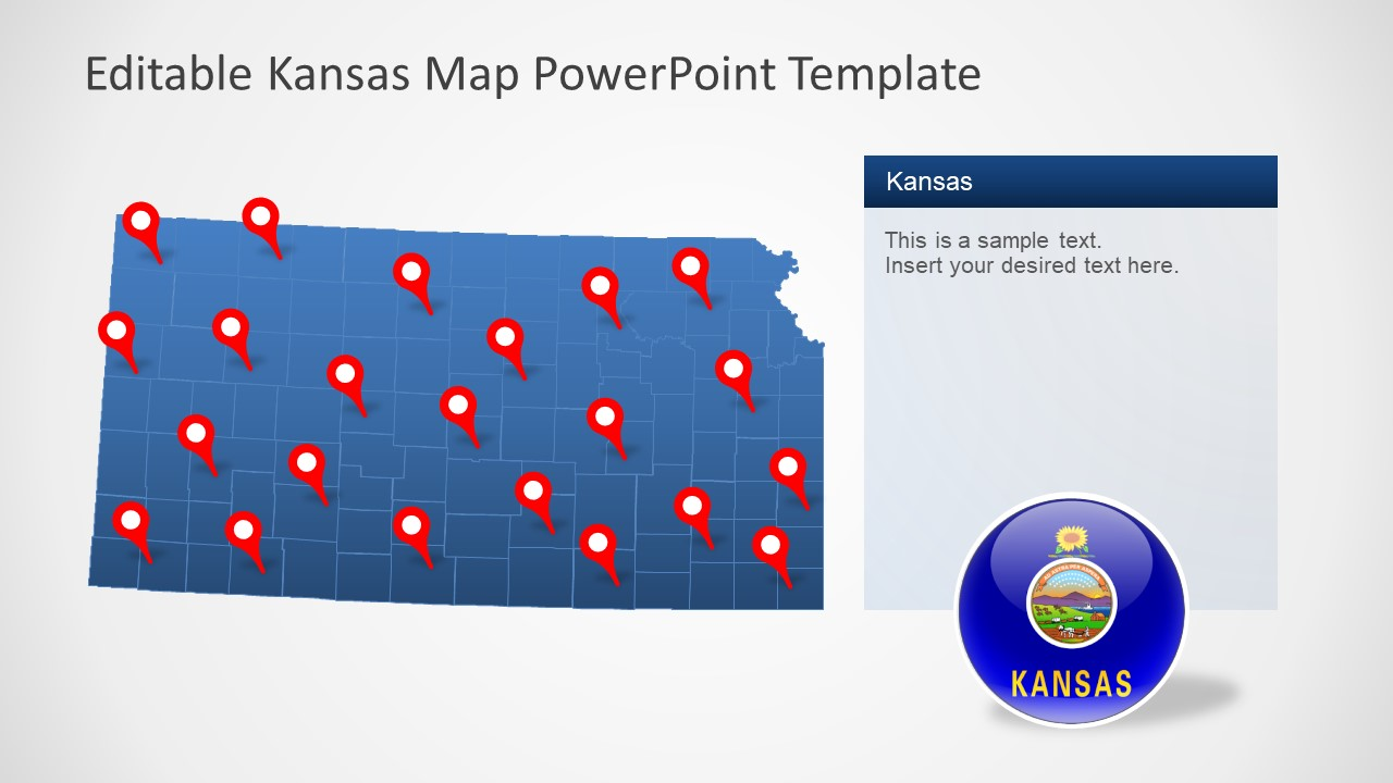 Editable Map Template for Kansas State