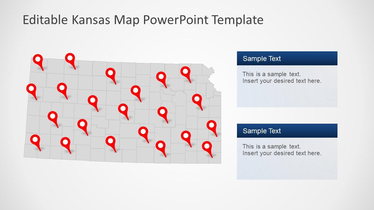 USA State of Kansas PowerPoint Map