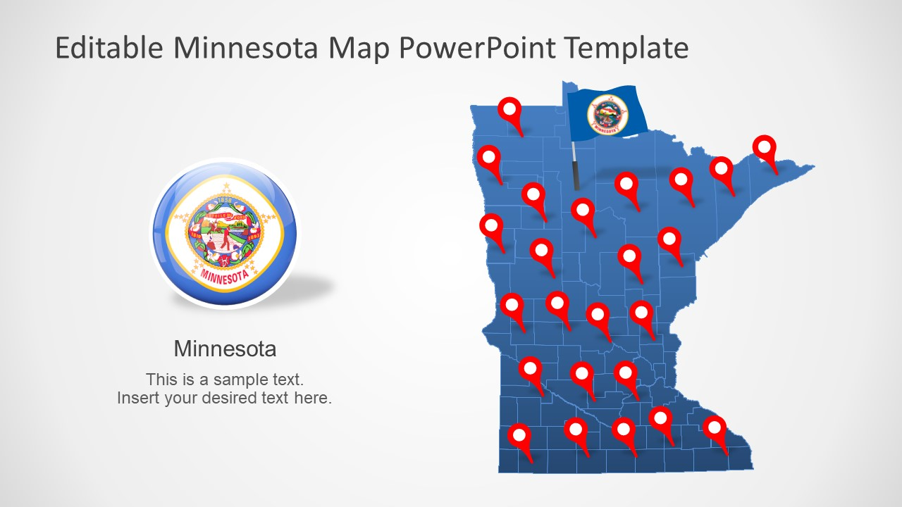 Editable Map of Minnesota in PowerPoint