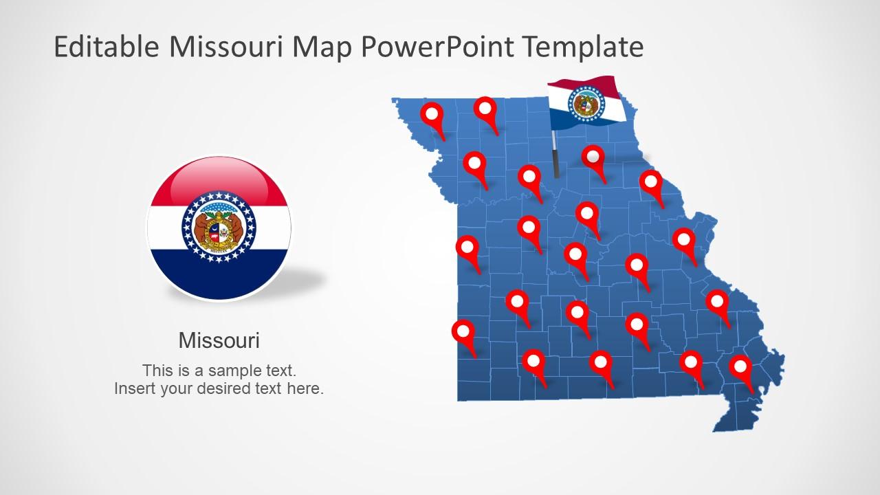 Map of Missouri of PowerPoint