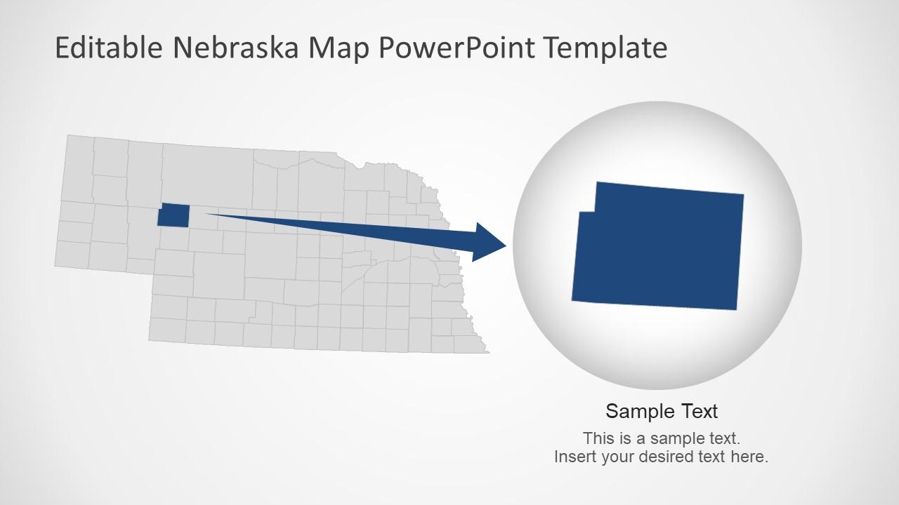 US State Map Zoom Version Nebraska