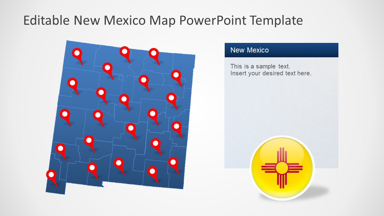 Blue Navigational Map of New Mexico