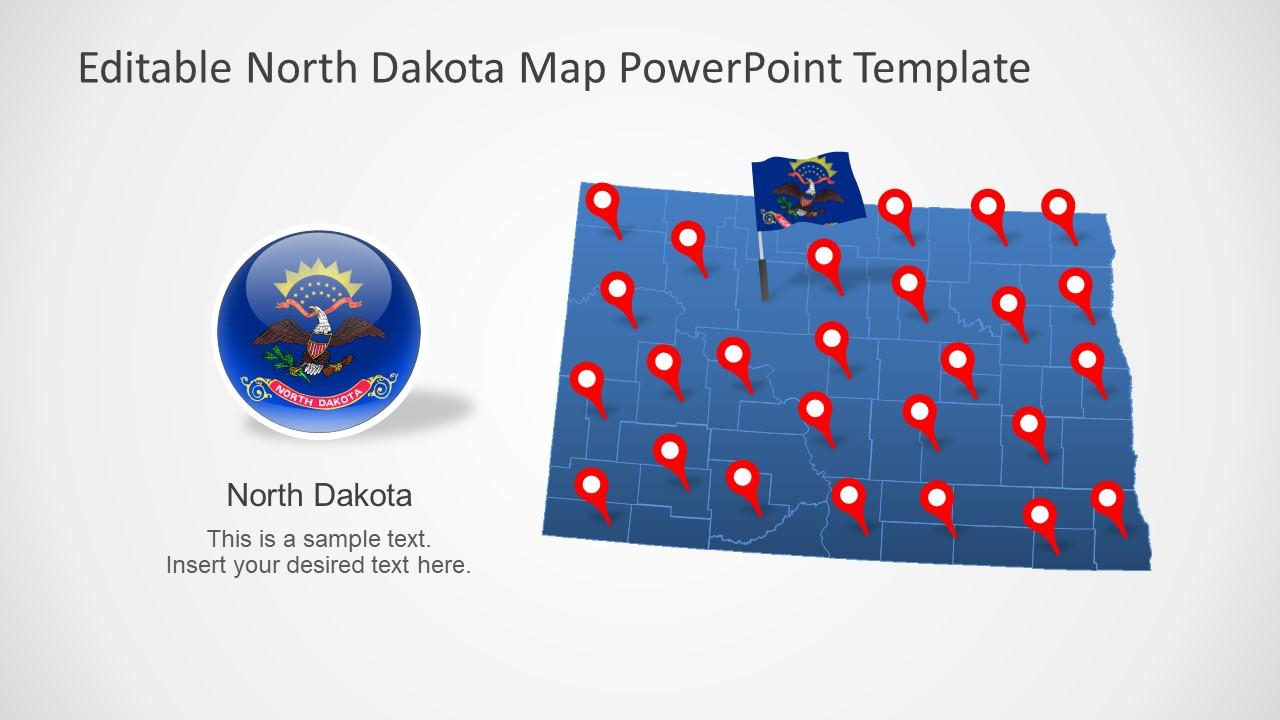 Presentation of North Dakota US State Map