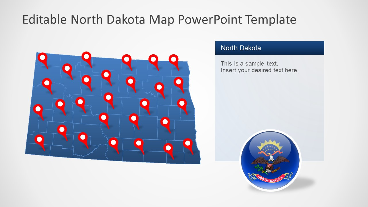 Flat Outline Map of North Dakota