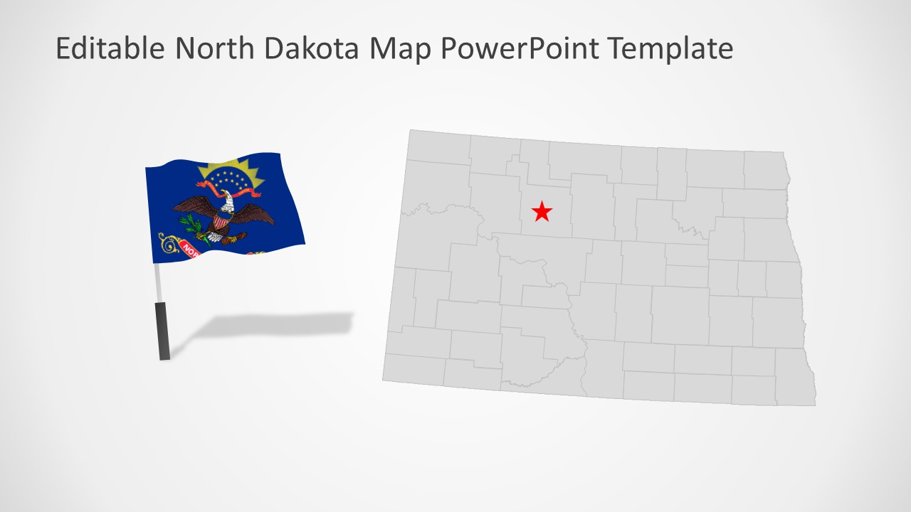 North Dakota State of US Flag and Map