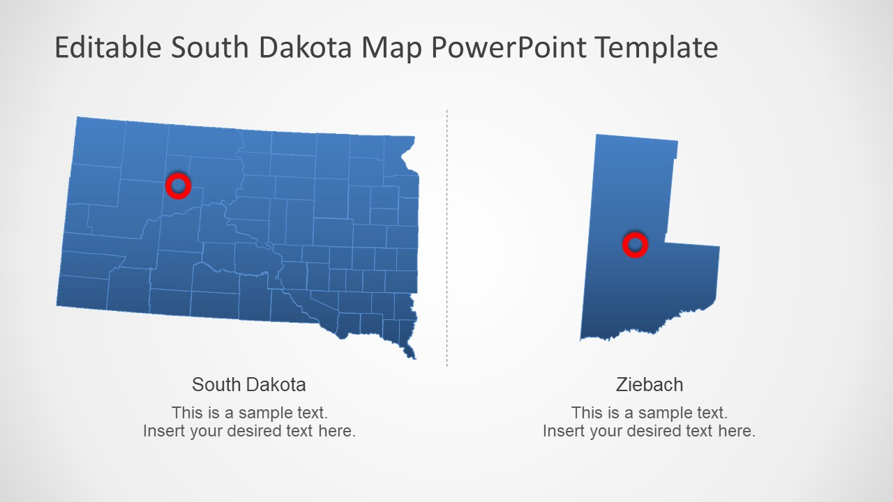 PowerPoint Outline Map of South Dakota