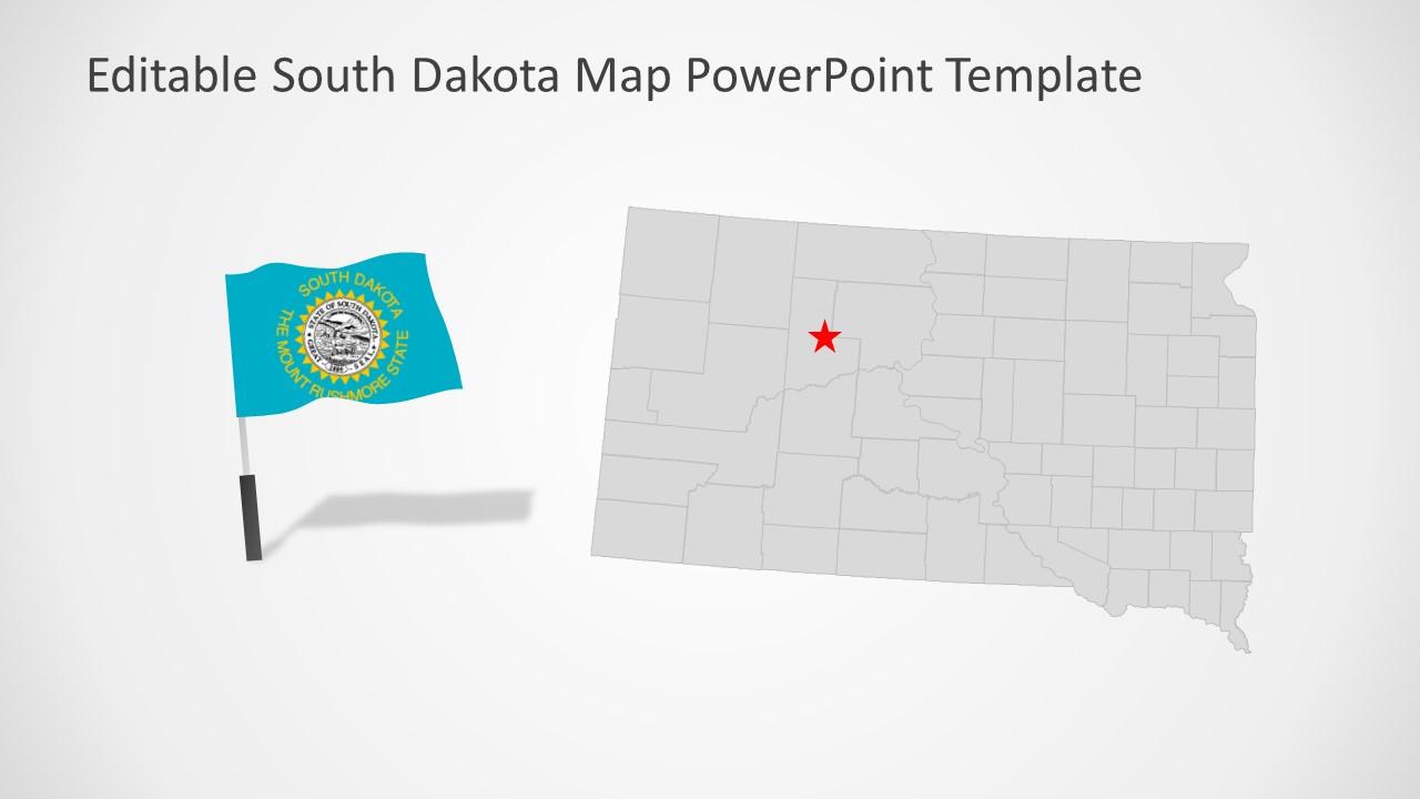 Editable Map Template of South Dakota
