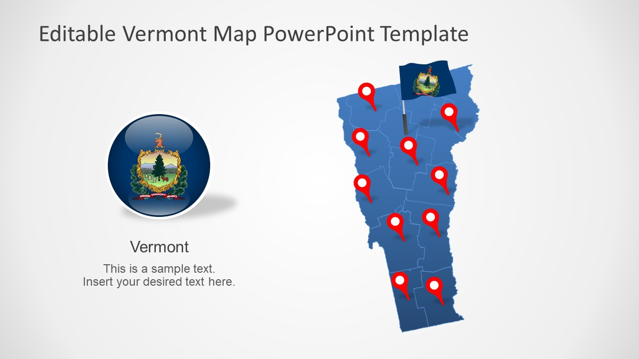 Editable Map of Vermont in PowerPoint
