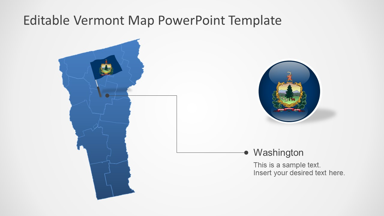 Outline Map of Vermont in PowerPoint