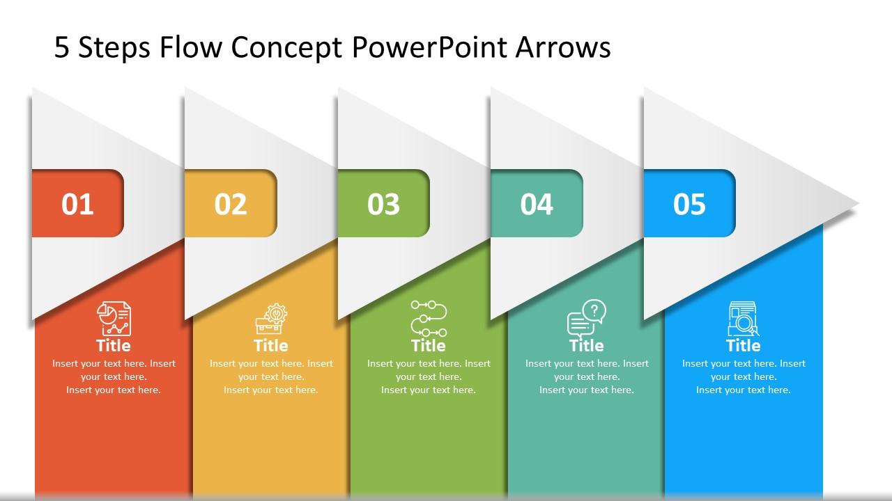 5 Blocks of Arrow Concept PowerPoint