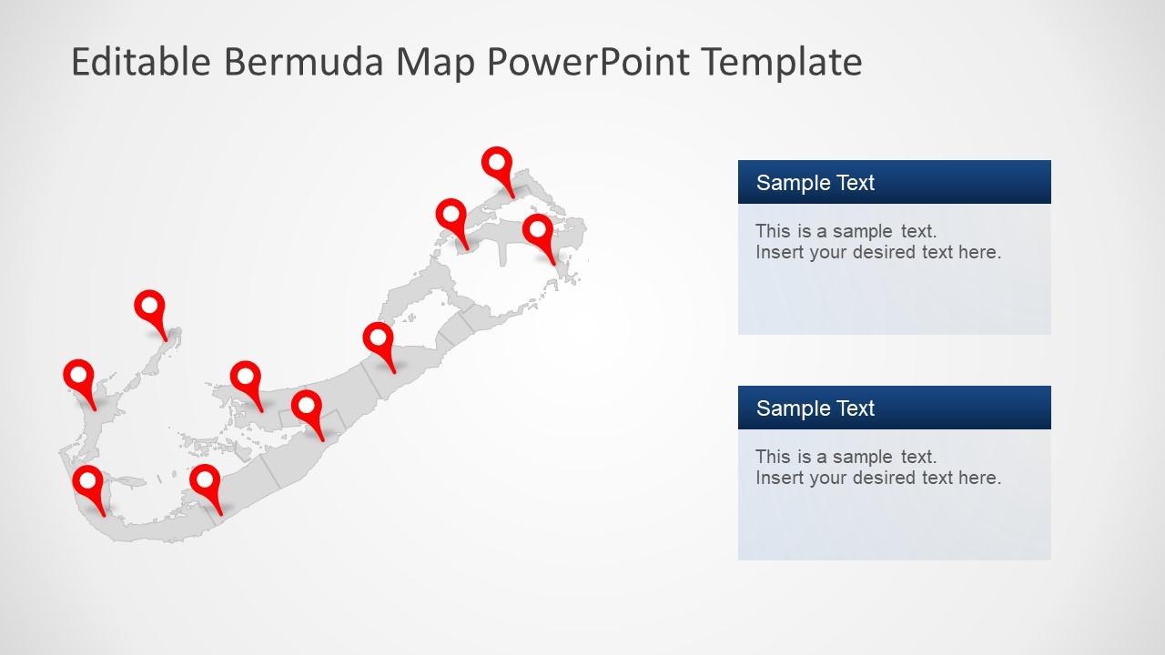 Flat Map Template for Bermuda